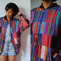 Vtg Guatemalan Tribal Print Colorful Zip Up Cotton Jacket