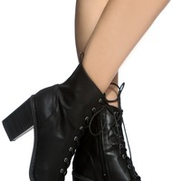Black Faux Leather Lace Up Chunky Booties @ Cicihot. Booties spell style, so if you want to show what you're made of, pick up a pair. Have fun experimenting with all we have to offer!