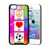 Shawnex Love Peace Soccer iPhone 5C Case - Thin Shell Plastic Protective Case iPhone 5C Case