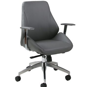 Isobella Office Chair in chrome/aluminum upholstered in Pu Grey