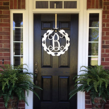 "SALE! Metal monogram Door Hanger/ Door Wreath- 22"" - Personalized Monogram Over 25 colors & Ribbon Selections"
