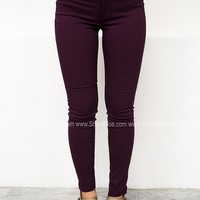 Solid Stretch Jeggings | Wine