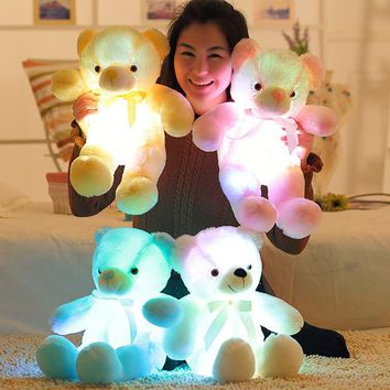 30cm Creative Light Up LED Teddy Bear Stuffed Animals Plush Toy Colorful Glowing Teddy Bear Christmas Gift for Kids XD239