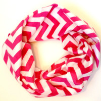 Hot Pink & White Chevron Fleece Toddler Tube Scarf Soft and Cozy Chevron Print Baby Scarf Young Girls Infinity Scarves for Babies