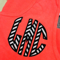Coral (Neon Red Orange) Comfort Colors Tank Top - Circle Applique Monogram - Your Choice of Fabric
