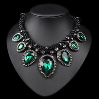 Hand made green crystal neckalce rope water drop chunky chocker necklace women fashion jewelry