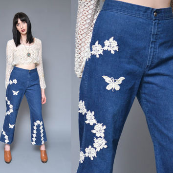 70s Bell Bottoms High Waisted Jeans M Floral BUTTERFLY Applique Crochet Embroidery Hippie Boho Wide Leg Petal Pusher Denim Capri Pants
