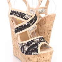 Black Floral Embroidered Strappy Cork Wedges Crochet