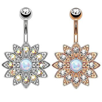 BodyJ4You 2PCS Belly Button Ring Created-Opal Floral Navel Set 14G Rose Gold Curved Barbell (1.6mm)