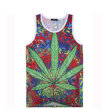 Men brand casual workout 3D weed t shirt tops Men hemp leaf hip hop t shirts gym
