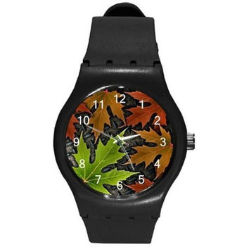 Colorful Autumn Leaves on a Mens, Boys Black Plastic Watch