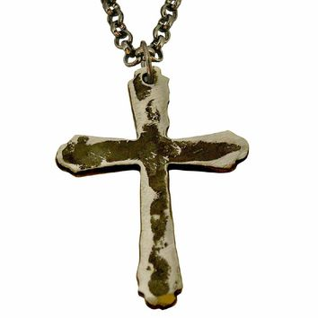 Watto Distinctive Metal Wear Chain - Cross Charm Necklace. Distressed Silver