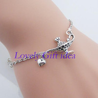 Disney magic lamp Aladdin lamp bracelet,silver chain,Wish bottle Spell magic Loop Connector,Genie appear Aladdins Lamp,Friendship gift .