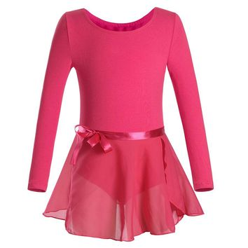 Toddler Ballet Dress Long Sleeves Athletic Dance Leotards Girls Gymnastics Kids Dance Wear Biketard with Tutu Skirts Dresses
