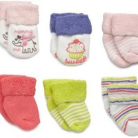 Carter`s Hosiery Baby-Girls Infant 6 Pack Terry Wardrobe Socks $11.95