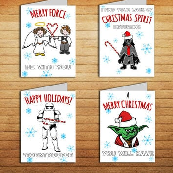 Star Wars Christmas Card Set of 4 Funny Holiday cards Printable illustrated Greeting Seasonal Cards Darth Vader Leia Han Yoda Stormtrooper