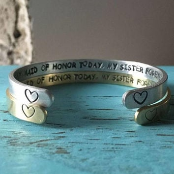 Sister my maid of honor, maid of honor sister heart, silver, gold bracelet wedding jewelry, maid of honor proposal maid of honor gift sister