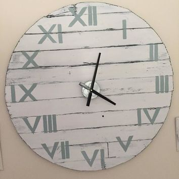 Oversized Wall Clock Large 96cm / 38 inch Diameter White with Duck Egg Roman Numerals