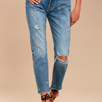 Pistola Abbi Medium Wash Distressed Jeans