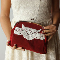 Red Clutch with handmade crochet