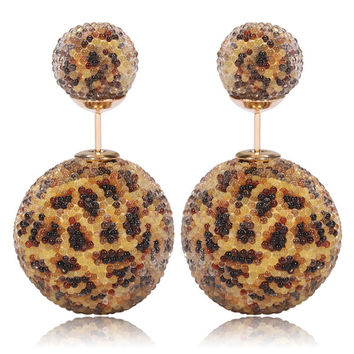 Italian Import Gum Tee Mise en Style Tribal Double Bead Earrings - Micro Bead Leopard Print Design
