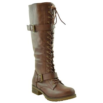 Womens Knee High Lug Sole Combat Boots Brown
