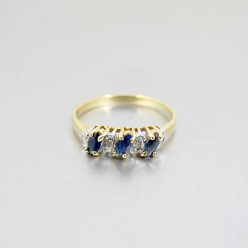 Sapphire Diamond Ring.  Vintage 10K Yellow Gold Diamond Sapphire Eternity Band Ring. Stackable Ring.