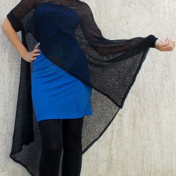 Black Mesh Mohair Poncho with Blue Dress / Mesh Wool Poncho and Jersey Dress TT27