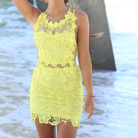 Maya Bay Lemon Floral Detail Dress