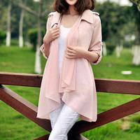 women's Chiffon blouses OL style Cloak and shawl suit Sundress Windbreaker Spring Top light pink, white color   M,L,XL
