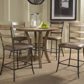 102013 Charleston 5-Piece Counter Height Round Wood Dining Set with Ladder Back Stool - Free Shipping!
