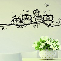 DIY Black Owl Cartoon Wall Stickers Removable Art Vinyl Decal Kids Nursery Room Home Decor