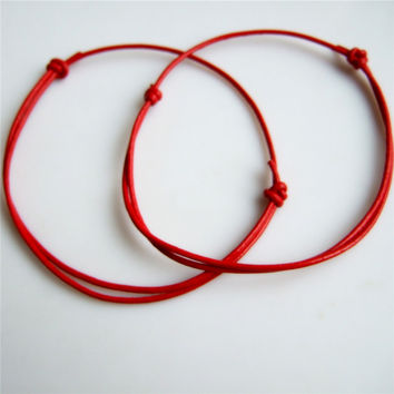2pieces Handmade Red Leather String Cord Kabbalah Lucky Bracelet Anklet Against Evil Eye Success Jewelry Finding DIY