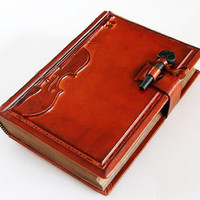Vintage Violin leather journal, antique style