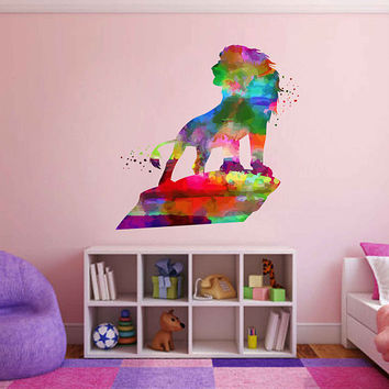 kcik2035 Full Color Wall decal Watercolor Character Disney Sticker Disney children's room The Lion King Mufasa