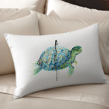 4K Unique Sea Turtle Art pillow cover 100% cotton handmade silk Decorative pillow case pillowcase cushion cover Bedroom Present gift