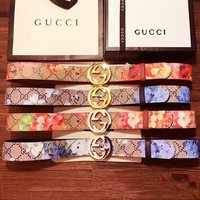 Gucci Men Fashion Smooth Buckle Belt Leather Belt Women Belt Print Flower Waist Floral Belt