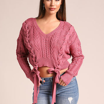 Mauve Lace Up Cable Knit Cropped Sweater Top