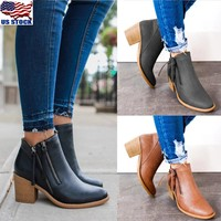Women's Block Heel Round Toe Casual Boots Zip Up Chunky Ankle Booties Shoes Size