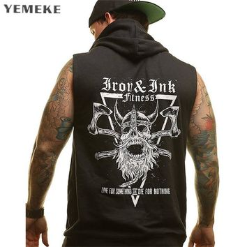 YEMEKE 2018 Men's Cotton Hoodie Sweatshirts Vest Zipper Fitness Bodybuilding Clothes Tank Top Sleeveless shirt undershirt Vest