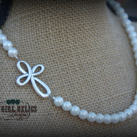 Western Necklace-Silver Cross, Pearls, Elegant, Country Wedding, Cowgirl Faith, Christian