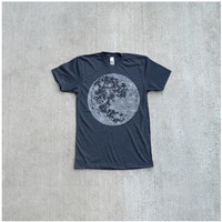 Mens tshirt - full moon screenprint on heather black - t shirt for men | fathers day - My Moon, My Man by Blackbird Tees