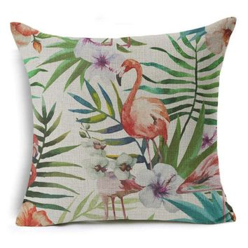 Hyha Plant Cushion Cover Tropic Flamingo Hibiscus Flower Decorative Pillow Cover