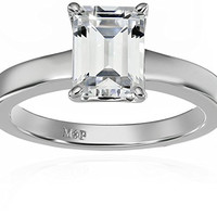 Platinum-Plated Sterling Silver Swarovski Zirconia Emerald-Cut Solitaire Ring (1.5 cttw), Size 7