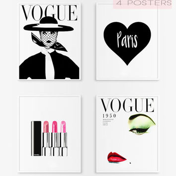 Lipstick art. Vogue cover poster. Paris poster. Vogue vintage. Lipstick pink. Fashion printable poster. Fashion artwork. Download and print