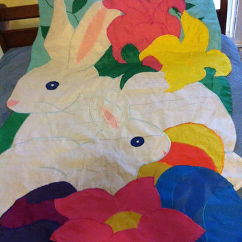 Easter Bunny Floral Garden Flag Vintage Spring Themed Banner Nylon Wall Hanging With Rabbits and Flowers