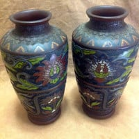 Pair Vintage 1940s Post World War 2 Japanese Bronze Champleve CPO Vases
