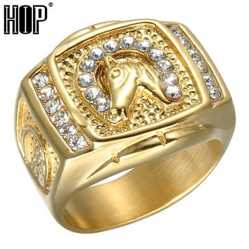 HIP Hop Micro Pave Rhinestone Iced Out Bling Horse Ring IP Gold Filled Titanium Stainless Steel