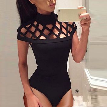 2017 Summer jumpsuit Womens Choker High Neck Bodycon Caged Sleeves Mesh Jumpsuit Hollow Out Playsuits Skinny Bodysuit Tops