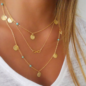 17KM  Multi Layer Gold Color Tassel Infinity Necklace for Women Body Chain Jewellery Bohemian Turquoise Choker Colar collier